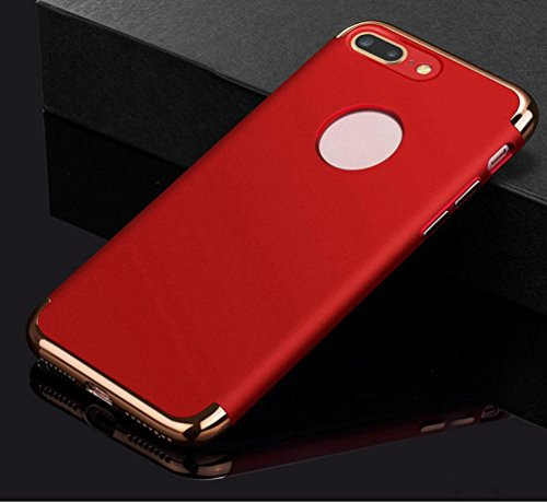 Ouneed® Hülle für iphone 7 plus 5.5 Zoll , Luxury thin Electroplate Hard Back Case Cove für iPhone 7 Plus 5.5 Zoll (5.5 Zoll, Schwarz) Rot
