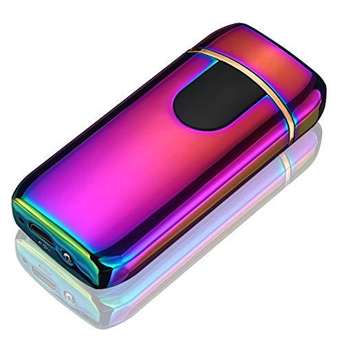 Yeleo Trosetry Elektro Feuerzeug, Dual Arc Lighter, USB Wiederaufladbar, Flammenlos Sensor Touch E Zigarette Feuerzeug Plasma Aufladbare Winddichte Geschenkfeuerzeuge(Regenbogen)