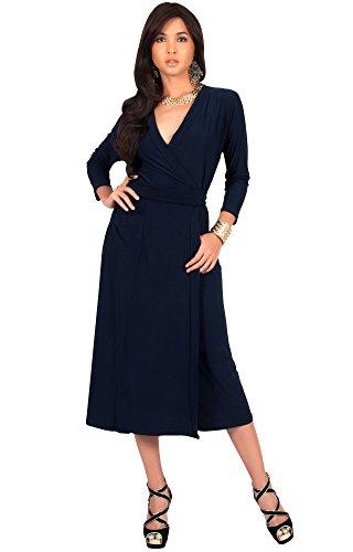 KOH KOH® Femmes Robe Mi-Longue Manches 3/4 Col V Châle Cocktail Longueur Genoux Bleu Marine