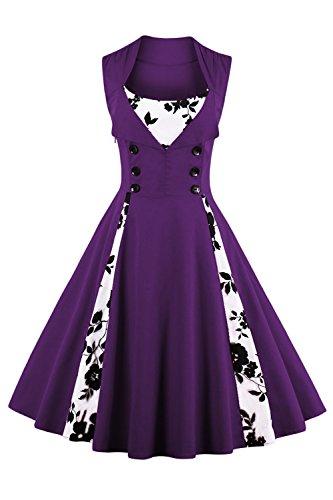 Babyonline Damen 1950er Vintage Abendkleid Elegant Retro Geblümt Cocktailkleid Faltenrock Kleid Lila XL