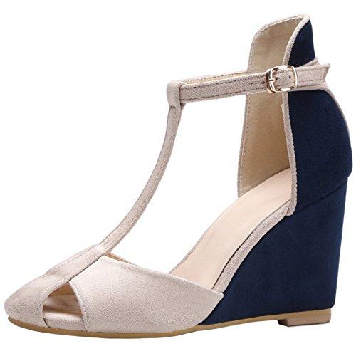 RizaBina Femmes Elegant T-strap Compensees Talons Hauts Ankle Wrap Sandales De Boucle 761 Bleu