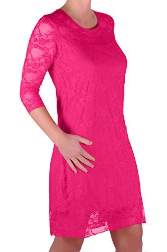 EyeCatch - Robe de soirée stretch mi longue motif floral dentelle grandes tailles - Jolene - Femme Fuschia