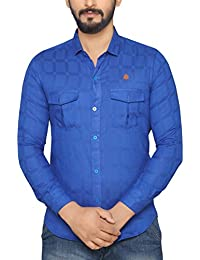 PP Shirts Men Blue Coloured Shirt With Double Pocket