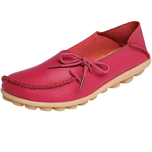 Hishoes Mocassin Femme Cuir Souple Loafers Casual Plat Bateau Chaussures Confort Sandales Rose rouge