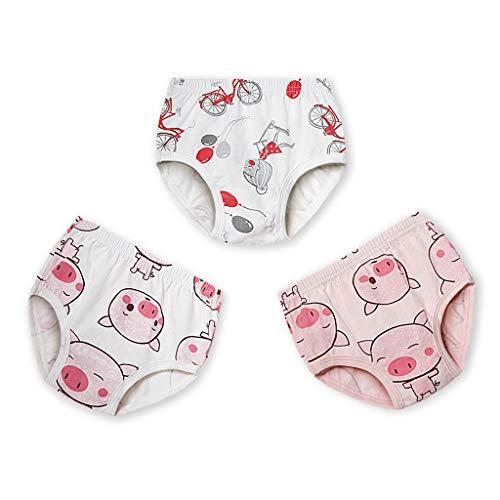 Print Zwei Stück Höschen (VIccoo 3 Teile/Satz Kleinkind Infant Baby Baumwolle Underwear Nette Dinosaurier Schwein Animal Print Kinder höschen atmungs Briefs Unterhose 2-6 t - Mädchen)