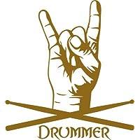 Adesivo da parete per camera per ragazzi motivi scritta Drummer con Rocker mano, Rame, 54 x 50 cm