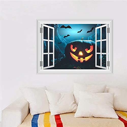 (Halloween Kürbis Wandaufkleber Wohnzimmer Pvc 3D Lebendige Fenster Wandtattoo Wand Kunst Poster Haunted Dekoration 50 * 70 Cm)