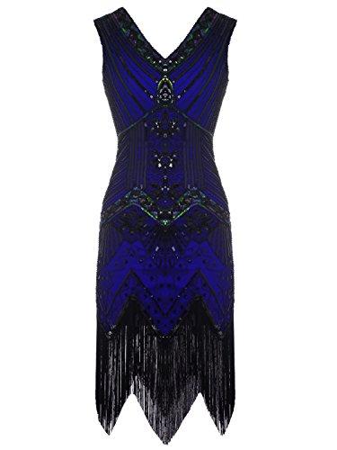 apper doppelte V-Ausschnitt Pailletten Strass verschönert fransen Kleid D20S003(M,Marineblau) (1920-stil Kleider)