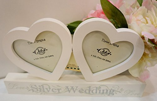Global Designs Gorgeous Silber Hochzeit Jahrestag Geschenk–Double Herz Rahmen