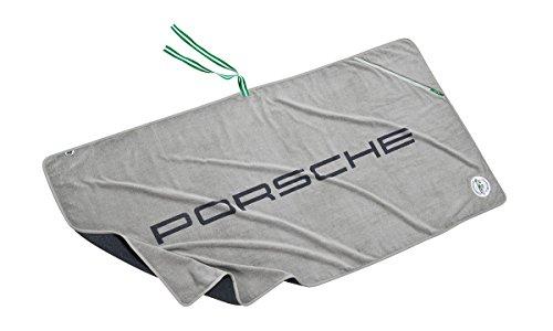 """Preisvergleich Produktbild Porsche Baumwolle Frottie Strandtuch Badetuch RS 2.7 Kollektion mit """"PORSCHE"""" Schriftzug und integrierter Reißverschlusstasche **graublaumelang**"""