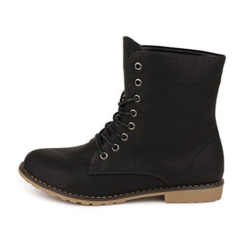 best-boots Damen Stiefelette Boots Worker Stiefel NEU: Schwarz (fällt kleiner aus)