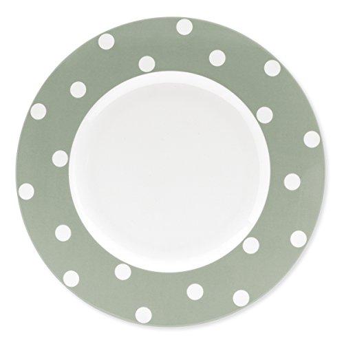 Bruno Evrard Assiette Plate en Porcelaine Vert Sauge à Pois 29cm - Lot de 6 - Freshness Dots