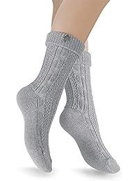 Celodoro 2 Paar Trachten Socken mit Edelweiß-Pin, Socken für Damen und Herren in Grau, Beige, Creme- Weiß- Gr. 35-46