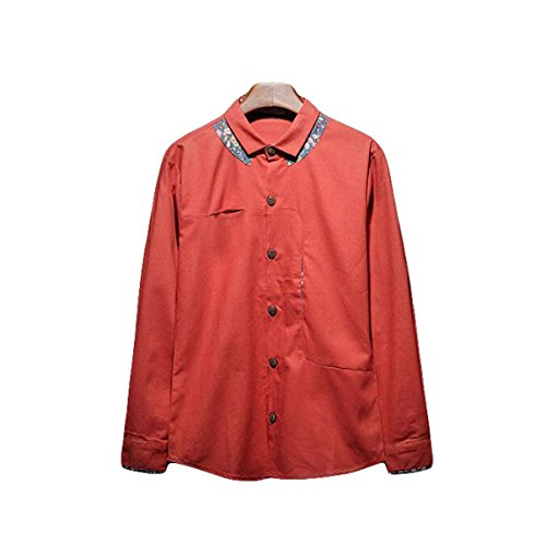 Herbst Baumwolle Langarm-Shirt Männer Normallack Lose Lässige Hemdjacke Revers Red