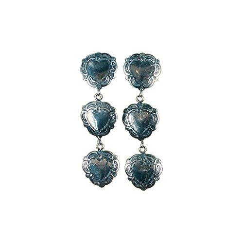 Argento di Santa Fe Concho cuori orecchini Sterling