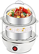 Piyuda Electric 2 Layer Egg Boiler Poacher - Compact, Stylish 14 Egg Cooker with Measuring Cup & Steel Bowl