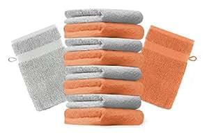 10er Pack Waschhandschuhe Waschlappen Premium Größe 16x21 cm Farbe Orange & Silber Grau Kordelaufhänger 100% Baumwolle