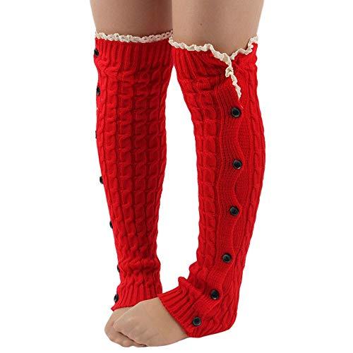 ZIYOU Damen Stulpen, Frauen Häkeln Braid Spitzenbesatz Stulpen mit Knopf Winter Wärmer Stricken Boot Hohe Knie Socken(Rot)