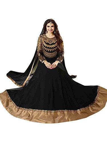 Black Semi Stitched Georgette Anarkali Salwar Kameez