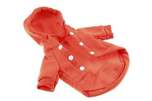 DFGFSDG Wasserdichte Hundejacke Hundemantel Jacke Hundeshirt Haustier-Hund kleidet Herbst Herbst-Winter-Jacke mit Hut for Welpen Hündchen-Katze-Rot Orange (Color : Orange, Size : L)