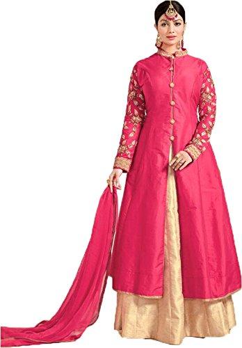 Fkart Festival Mega Sale Offer tapeta silk pink Embroidered semi stitched salwar...