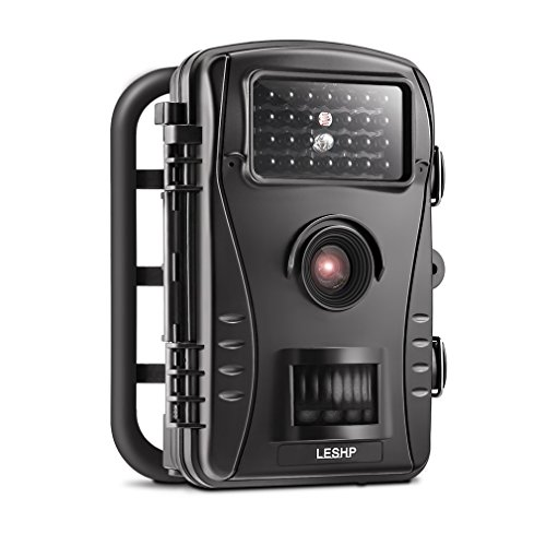 LESHP Trail Camera 8MP 720P Wildlife Cam with Infrared Night Vision 26 Pcs IR LEDs and 2.4'' LCD Display Waterproof Surveillance Hunting Camera