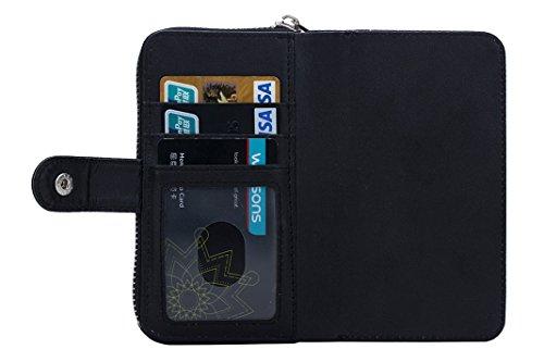 """OuDu Reißverschluss Hülle für iPhone 6/6S (4.7"""") Unabhängige Abnehmbare Silikon Schutzhülle Klapp Etui PU-Leder Hülle Mappen Kasten Brieftasche Weiche Glatte Ledertasche Flip Wallet Case Cover Folio H Schwarz"""