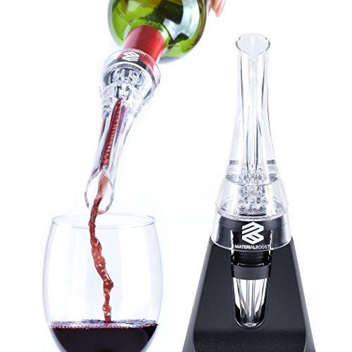 Aeratore per vino versatore con supporto e vino vuoto stopper set materiale boost- bianco e aeratore per vino rosso decanter aerazione per bottiglie di vino Premium, set di lusso pacchetto (nero)