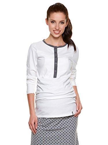 Be! mama 2 en 1 T-Shirt d'allaitement - Débardeur d'allaitement, Fait T-Shirt, Muse - Blanc -