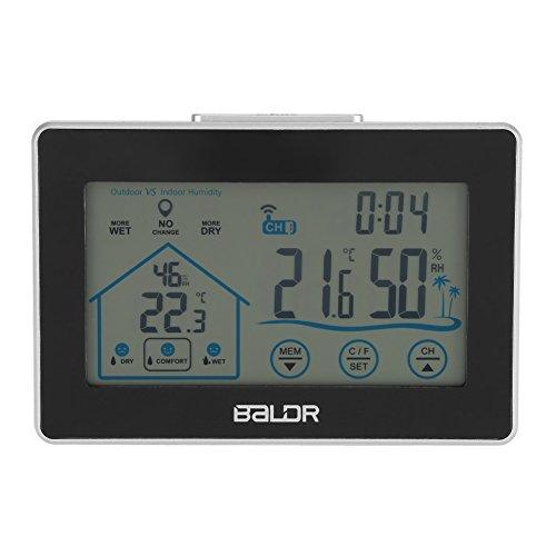 Fdit BALDR Reloj de Pared de Estación Meteorológica Pantalla Táctil LCD Inalámbrica Higrómetro...
