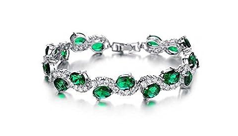 findout Damen 18k weißes Gold überzog schöne Flash-Diamant-Kristall-Armband, Frauen Mädchen, (f1453) (grünen Kristall)