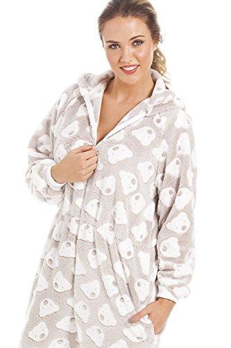 8d04638a913f Camille Pigiama Intero Donna - Morbido Pile con Cappuccio e Motivo orsi -  Beige