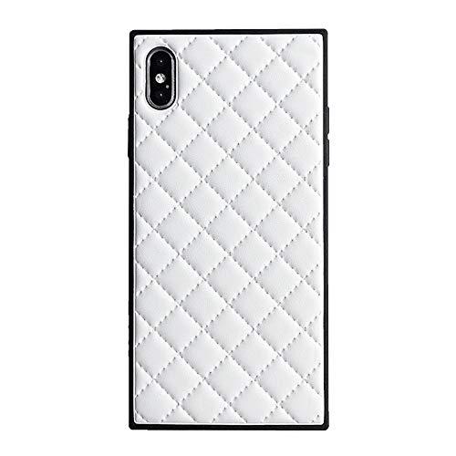 Square Grid Ledertasche für iPhone XS Max luxusgitter rhombische schaffell Vintage chic stilvolle Abdeckung schlank weich Flexible stoßfest Kofferraum zurück Shell (iPhone XS Max 6.5'', White)