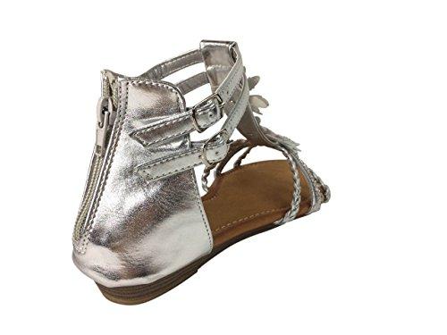 Damen Sandalen Blumen Glitzer Nieten Sandaletten Keilabsatz Riemchen ST8 Silber