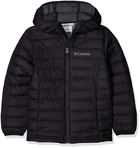 Columbia Garçon Veste à Capuche Isolée, POWDER LITE HOODED INSULATED JACKET, Polyester, Noir, Taille : XL, EB0013