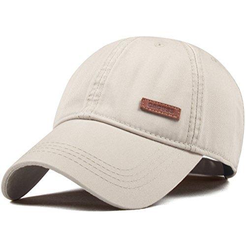 CACUSS Herren Baumwolle Klassischer Baseball Kappe Adjustable Buckle Closure-Vati-Hut Sport-Golf-Kappe einheitsgröße b0080_beige - Klassisches Golf Cap