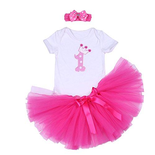 BabyPreg Baby Mädchen 3PCs Erster Geburtstag Onesie Tutu-Kleid Stirnband (L/9-12 Monate, Heiß Rosa) (Kleid Geburtstag Ersten)