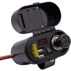 HLH-Motorcycle Accessories Facile à Installer Double Chargeur de Port USB imperméable Allume-Cigare avec commutateur Horloge voltmètre Utile (Color : Black)