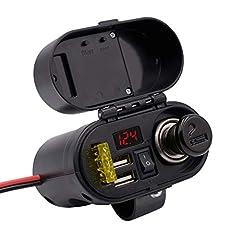 Idea Regalo - Caricabatteria doppio porta USB impermeabile accendisigari moto con interruttore Voltmetro Orologio (Color : Black)