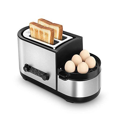 GSAGJmbj Toaster, 5-in-1-Toaster mit Eierkocher und Wilderer, 2-Scheiben-Toaster mit Mini-Bratpfanne, Dampfgarer, 7 Bräunungsregelungsarten, 1250 W, Edelstahl, Silber
