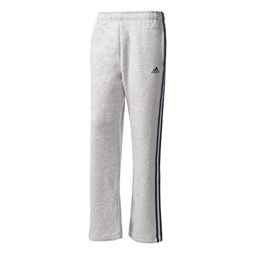 ADIDAS Herren Essentials 3-Stripes Regular Fleece Hose, Medium Grey Heather/Collegiate Navy, S