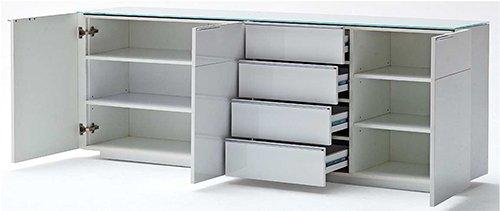 Sideboard in Hochglanz weiß mit Ablagefläche aus weißem Glas, 3 Türen, 4 Einlegeböden und 4 Schubkästen, Maße: B/H/T ca. 194/76/41 cm - 2
