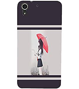 PrintDhaba Girl with Umbrella D-1404 Back Case Cover for HTC DESIRE 728 (Multi-Coloured)