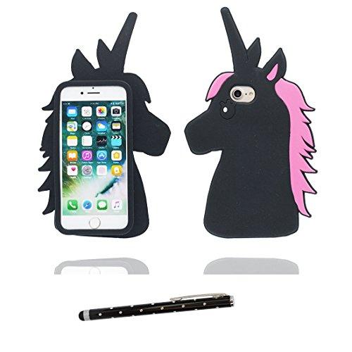 """iPhone 7 Hülle, 3D Cartoon Einhorn Cover Unicorn iPhone 7 handyhülle (4.7 zoll) flexible TPU Shell iPhone 7 case (4.7""""), Staub Rutsch kratzfest und Touchstift Schwarz 1"""