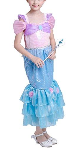 LCXYYY Mädchen Prinzessin Meerjungfrau Ariel Pailletten Puffärmel Quadratischer Kragen Blumen Schwanz Falten Rock Kostüm Karneval Kleid Cosplay Hochzeit Faschingskostüm Festkleid Weinachten Halloween