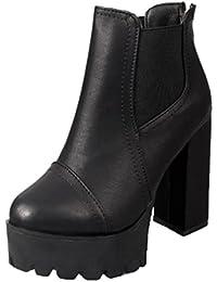 Zapatos de mujer Botines cortos para mujer Moda Tacones altos Talón cuadrado Punta redonda Talón grueso Plataforma Martín Botas Botines LMMVP