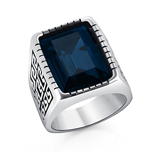 Männer Ring-amethyst (Edelstahl Männer Großer Wand Muster quadratischer blau Kristall Siegel Ring für Jungen Punkschmucksachen)