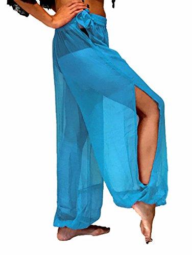 (Bauchtanz Harem Hose zum Tanzen Tribal Tänzer Kostüm Yoga FANCY KLEID Leggings M L XL (HIMMELBLAU))