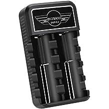 DUTISON Cargador de Batería para 18650 26650 14500 17500 16340 RCR123 3.7V Cargador de Batería Li-ion (2 Slots)