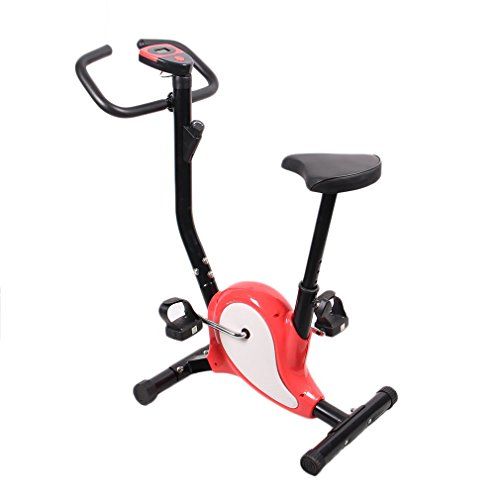 Homgrace Heimtrainer Fitness Fahrrad Fitnessbike Einstellbare Fahrradtrainer Hometrainer mit LCD Display, Benutzergewicht bis 100 kg (Rot)